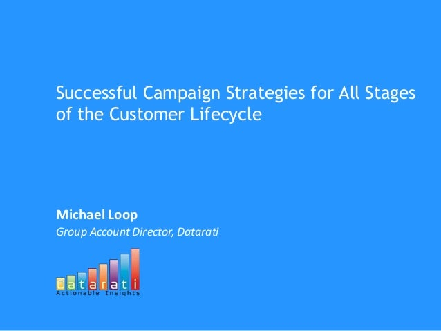 Successful Campaign Strategies for All Stages of the Customer Lifecycle Michael Loop Group Account Director, Datarati
