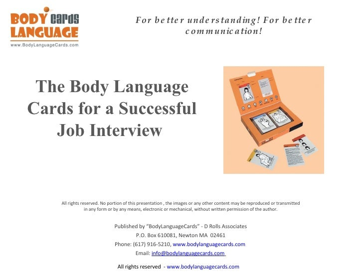 Successful Job Interview With The Body Language Cards   Example