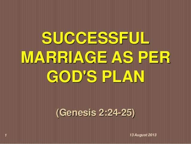 Successful Marriage as per God's Plan