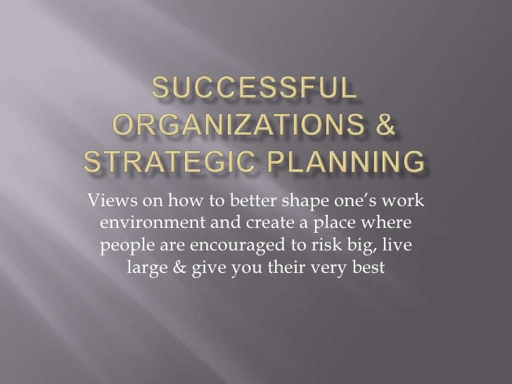 Successful Organizations  Strategic Planning
