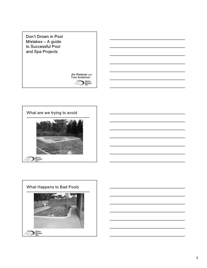Successful Pool And Spa Projects Handouts  J Im Redman