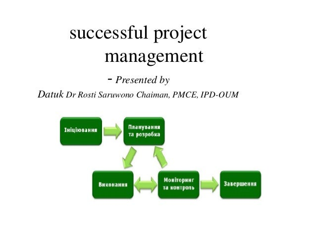 successful project management -Presented by Datuk Dr Rosti Saruwono Chaiman, PMCE, IPD-OUM