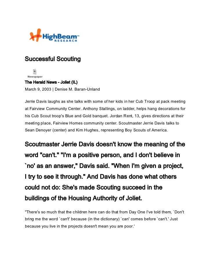 Successful ScoutingThe Herald News - Joliet (IL)March 9, 2003 | Denise M. Baran-UnlandJerrie Davis laughs as she talks wit...