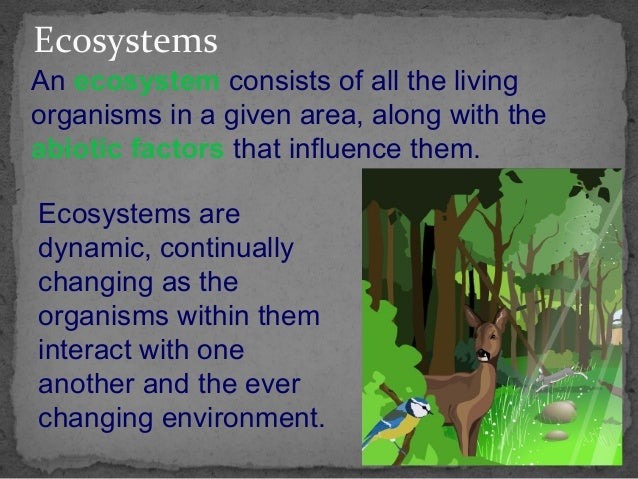 Ecosystems An ecosystem consists of all the living organisms in a given area, along with the abiotic factors that influenc...