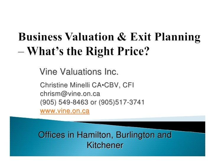 Vine Valuations Inc. Christine Minelli CA•CBV, CFI chrism@vine.on.ca (905) 549-8463 or (905)517-3741 www.vine.on.ca   Offi...