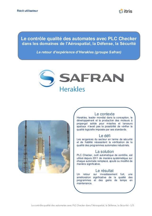 U Récit utilisateur  Le contrôle qualité des automates avec PLC Checker dans les domaines de l'Aérospatial, la Défense, la...
