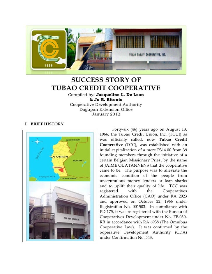SUCCESS STORY OF           TUBAO CREDIT COOPERATIVE                   Compiled by: Jacqueline L. De Leon                  ...