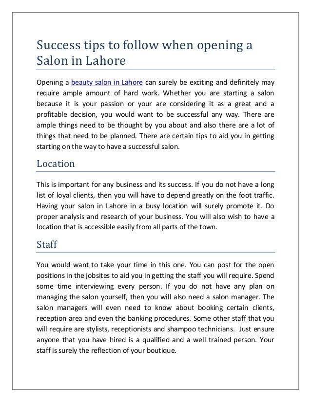 Success tips for a hair salon 2 success tips to follow for Asma t salon lahore
