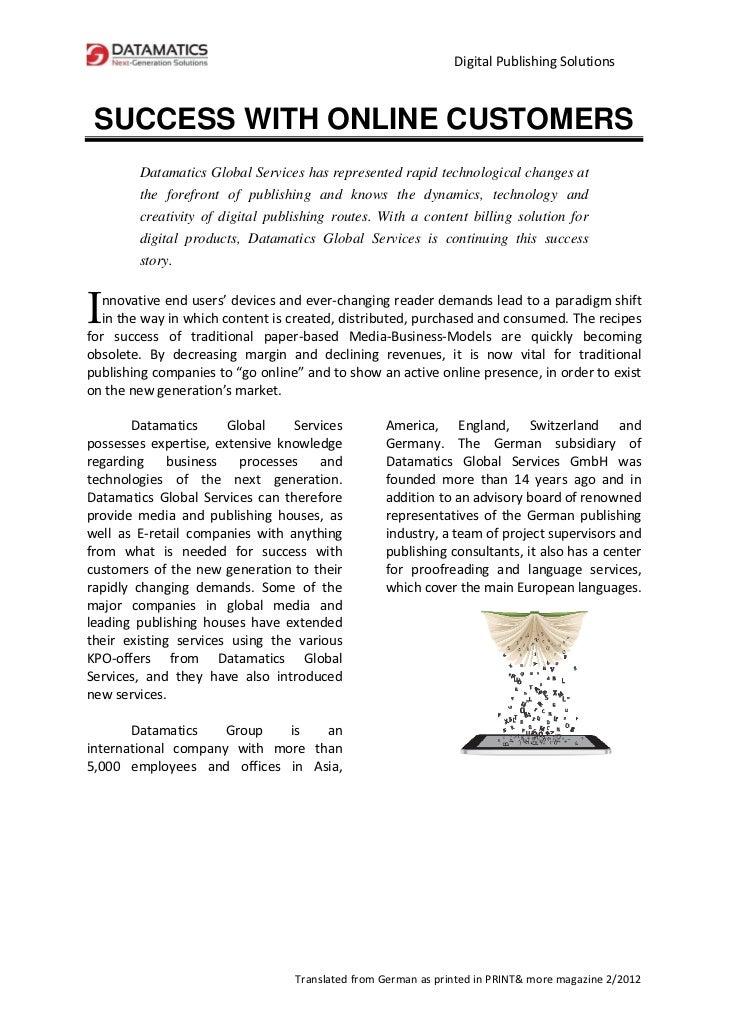 DigitalPublishingSolutions    SUCCESS WITH ONLINE CUSTOMERS         Datama...