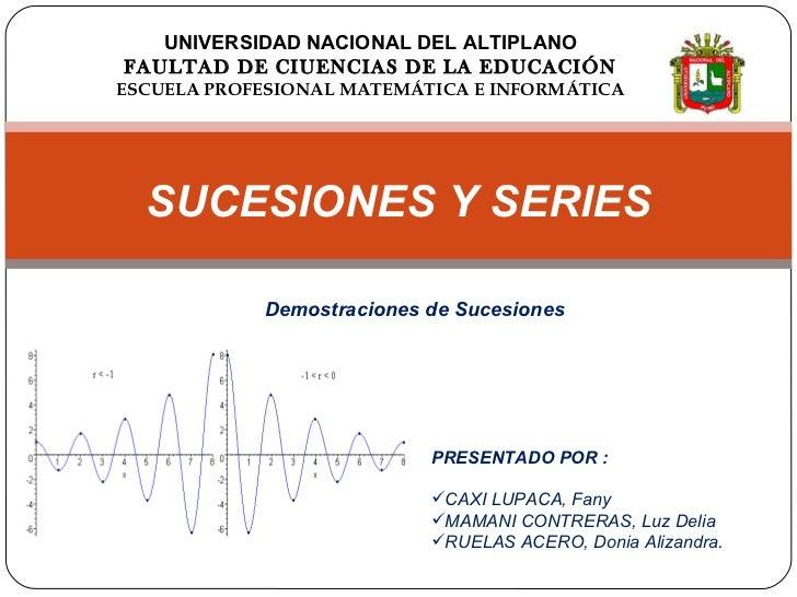 UNIVERSIDAD NACIONAL DEL ALTIPLANO FAULTAD DE CIUENCIAS DE LA EDUCACIÓN ESCUELA PROFESIONAL MATEMÁTICA E INFORMÁTICA <ul><...