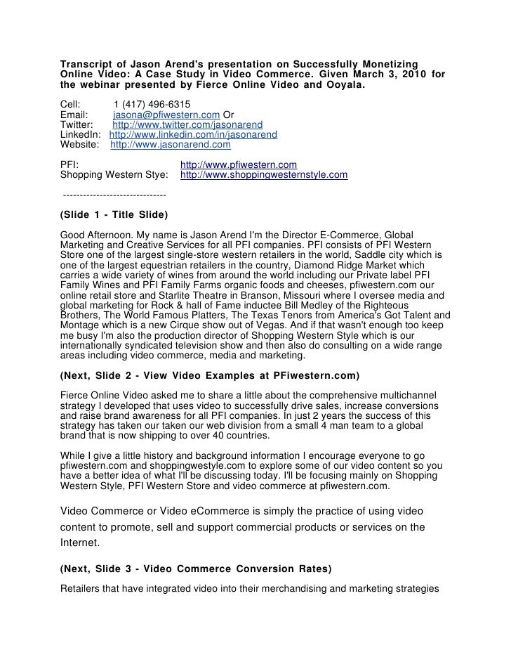 Successfully Monetizing Online Video by Jason Arend A Video Commerce Case Study Webinar Presentation Transcript