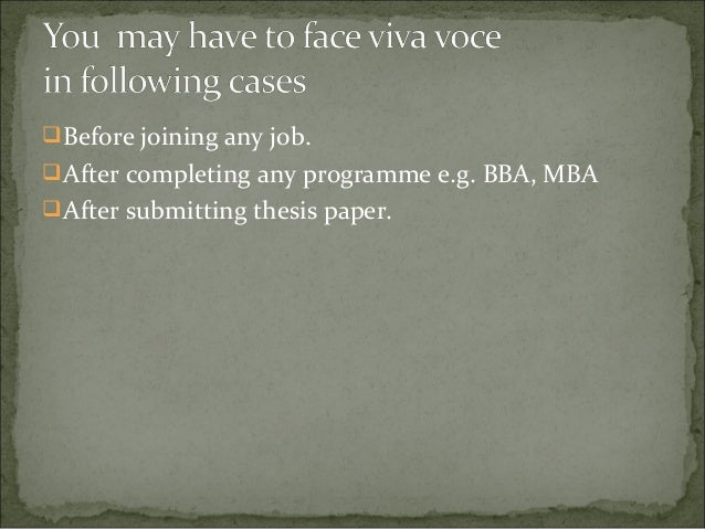 How to prepare a summary for a master degree viva voce?