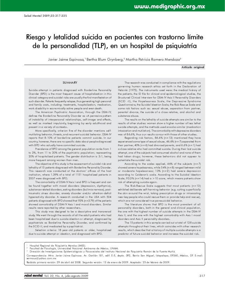 Letalidad suicida en afectados por trastorno límite (TLP- Borderline)