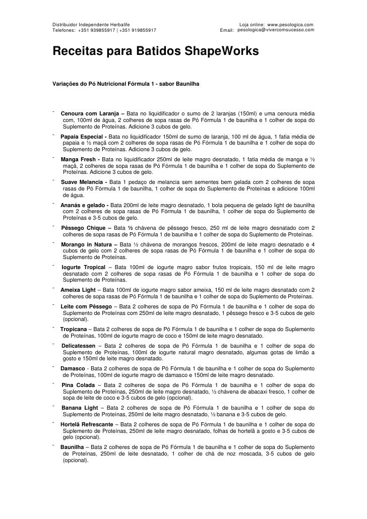 Distribuidor Independente Herbalife                                       Loja online: www.pesologica.com Telefones: +351 ...