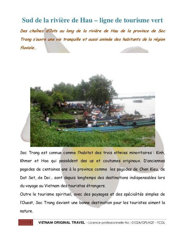 Sud de la rivière de Hau – ligne de tourisme vert Des chaînes d'îlots au long de la rivière de Hau de la province de Soc T...