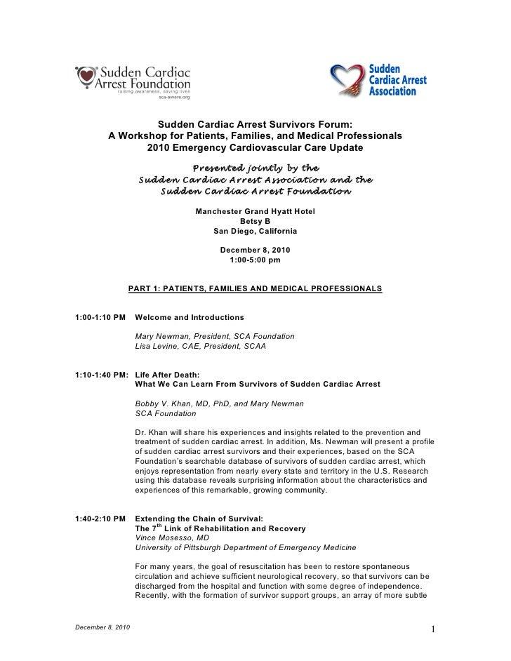 Sudden Cardiac Arrest Survivors Forum:         A Workshop for Patients, Families, and Medical Professionals               ...