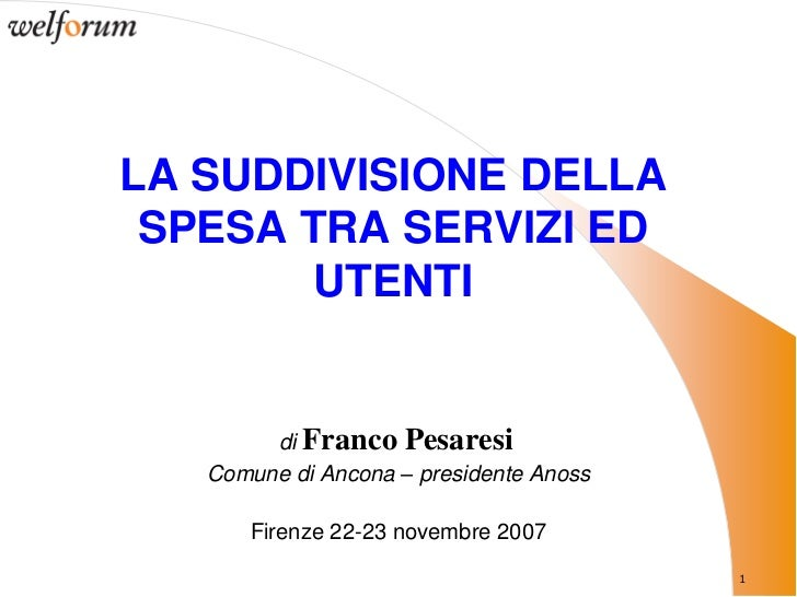 Suddivisione spesa tra servizi sociosanitari e utenti