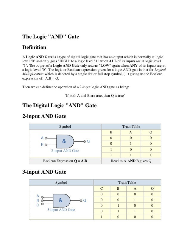 """The Logic """"AND"""" GateDefinitionA Logic AND Gate is a type of digital logic gate that has an output which is normally at log..."""