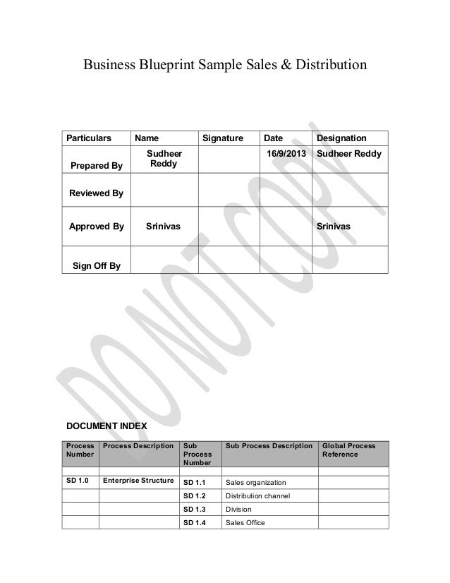 Business Blueprint Sample Sales & Distribution Particulars Name Signature Date Designation Prepared By Sudheer Reddy 16/9/...
