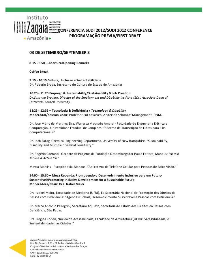 CONFERENCIASUDI2012/SUDI2012CONFERENCE                     PROGRAMAÇÃOPRÉVIA/FIRSTDRAFT         ...