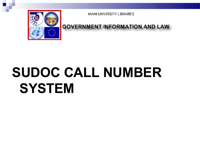 SUDOC CALL NUMBER SYSTEM
