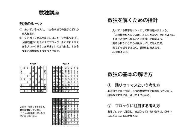 数独講座 9までの数字が1つずつ入ります。 数独のルール ①あいているマスに、1から9までの数字のどれか を入れます。 ②タテ列(9列あります)、ヨコ列(9列あります)、 太線で囲まれた3×3のブロック(それぞれ9マス あるブロック...