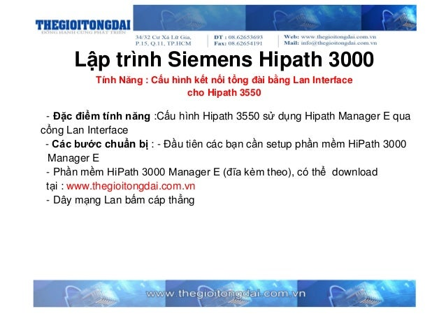 Lập trình Siemens Hipath 3000 - Cấu hình Hipath Manager E dùng cổng LAN cho Hipath 3550-[thegioitongdai.com.vn]