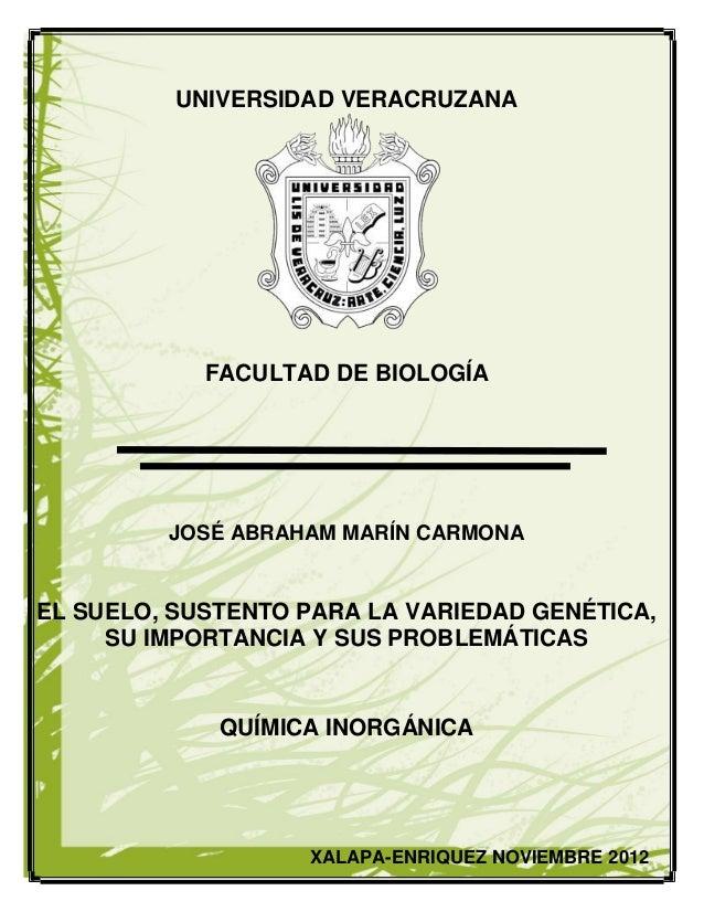 UNIVERSIDAD VERACRUZANA    UN            FACULTAD DE BIOLOGÍA         JOSÉ ABRAHAM MARÍN CARMONAEL SUELO, SUSTENTO PARA LA...