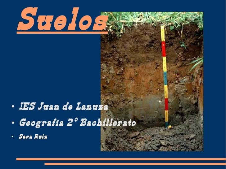 Suelos <ul><li>I ES Juan de Lanuza </li></ul><ul><li>Geografía 2º Bachillerato </li></ul><ul><li>Sara Ruiz </li></ul>