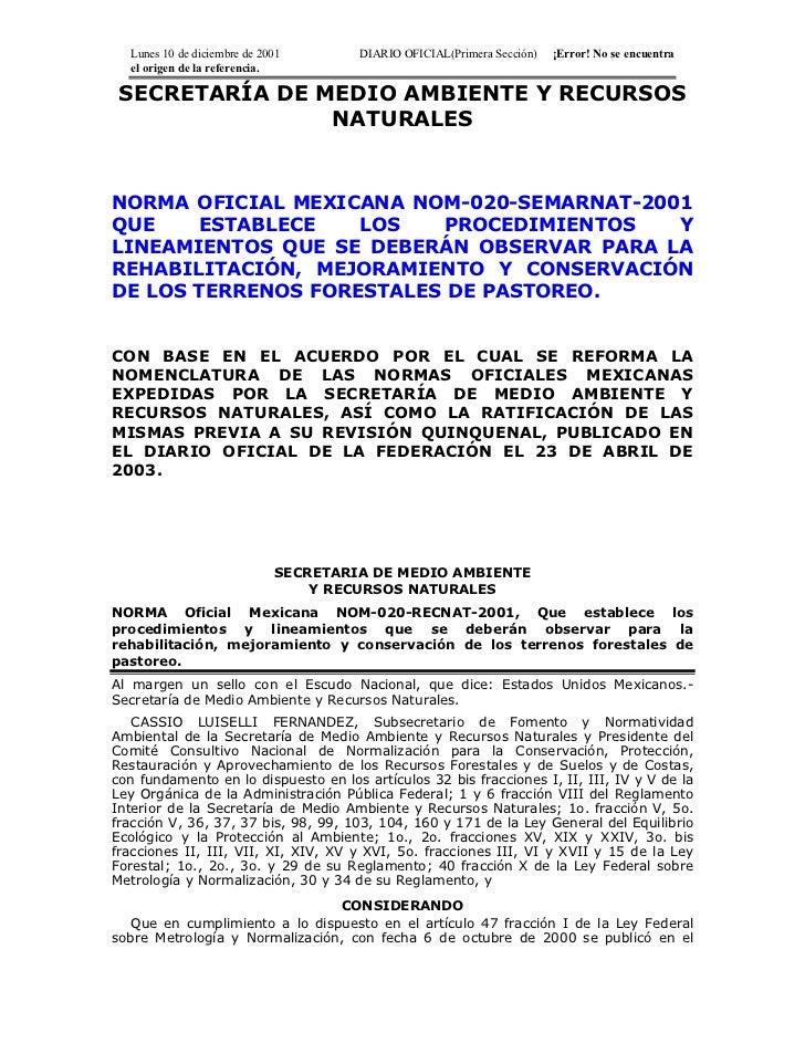 Suelos nom 020-semarnat-2001