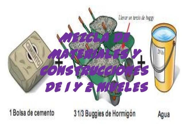 MEZCLA DEMATERIALES YCONSTRUCCIONESDE 1 Y 2 NIVELES