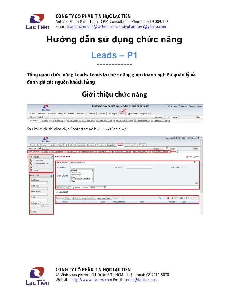 CÔNG TY CỔ PHẦN TIN HỌC LẠC TIÊN                 Author: Phạm Minh Tuấn - CRM Consultant – Phone : 0919.009.117           ...
