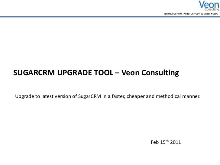 SugarCRM Uprade Tool Veon Consulting Pvt Limited