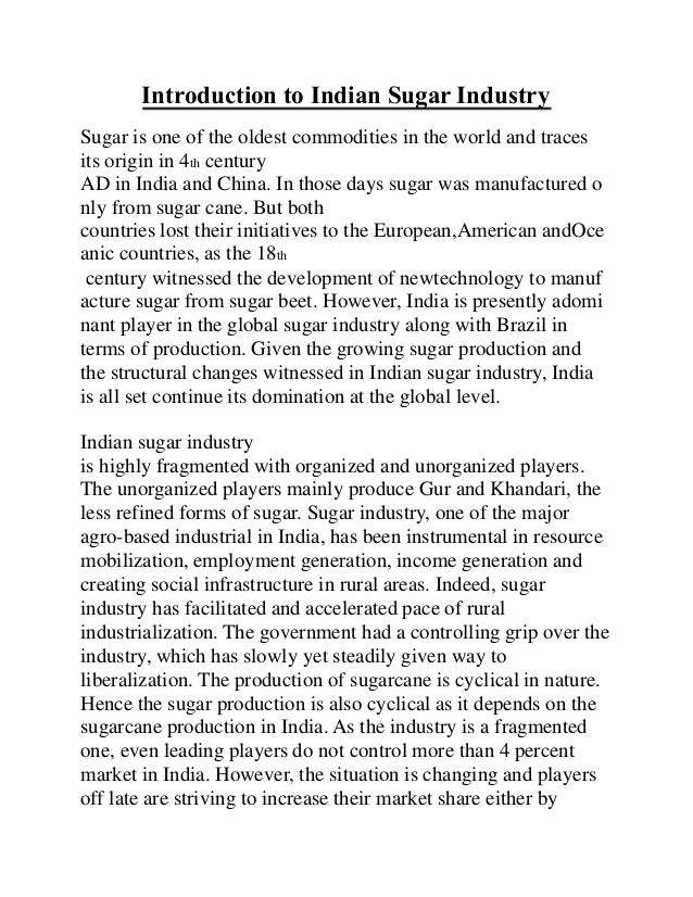 sugar industry introduction