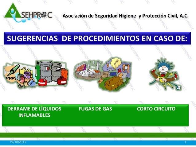 SUGERENCIAS DE PROCEDIMIENTOS EN CASO DE:  DERRAME DE LÍQUIDOS INFLAMABLES  19/10/2013  FUGAS DE GAS  CORTO CIRCUITO  1