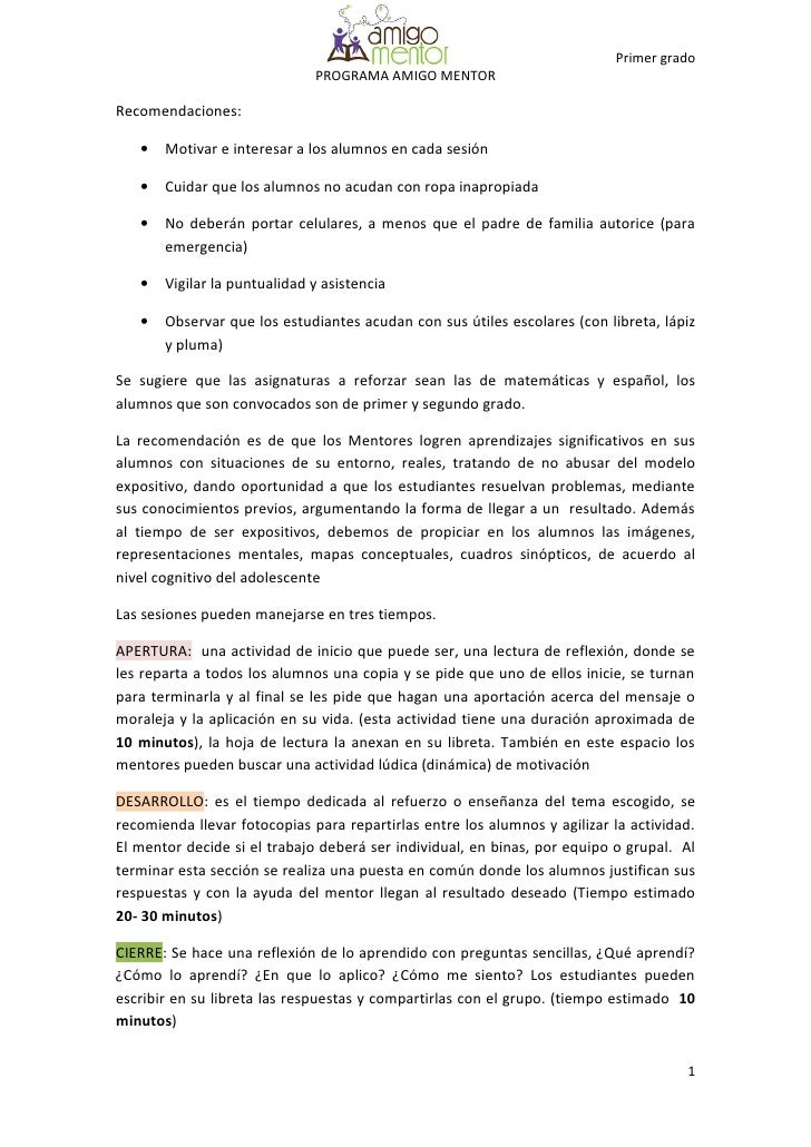 Primer grado                               PROGRAMA AMIGO MENTOR  Recomendaciones:     •   Motivar e interesar a los alumn...