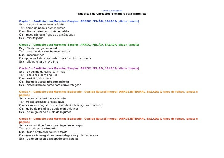 Sugestão de cardápio para marmitex 1
