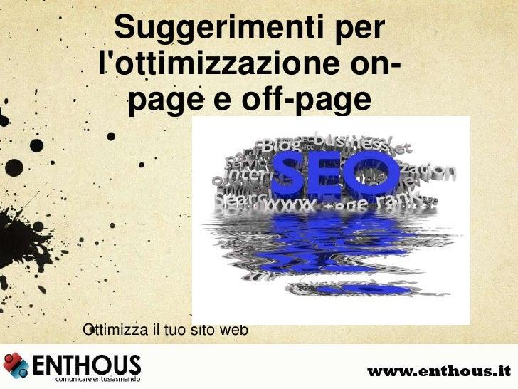 Suggerimenti per l'ottimizzazione on page e off-page