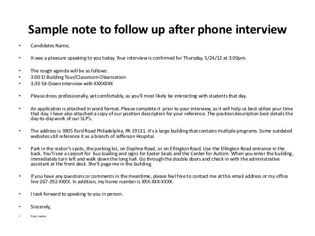 follow up letter after phone interview Parlobuenacocinaco