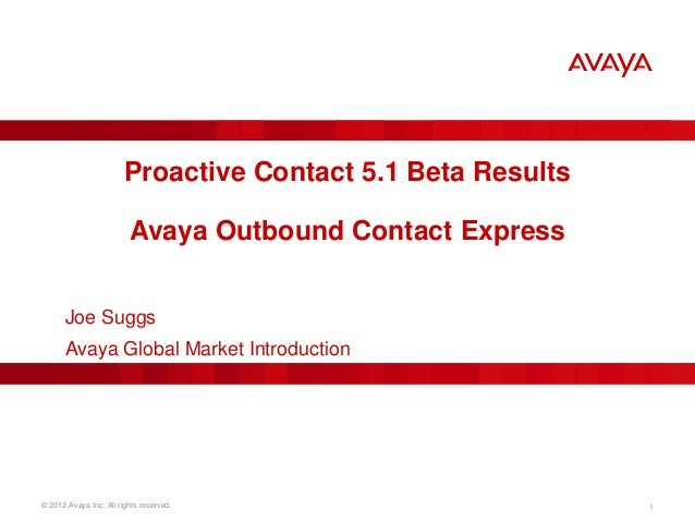 Proactive Contact Beta Results & Outbound Contact Express