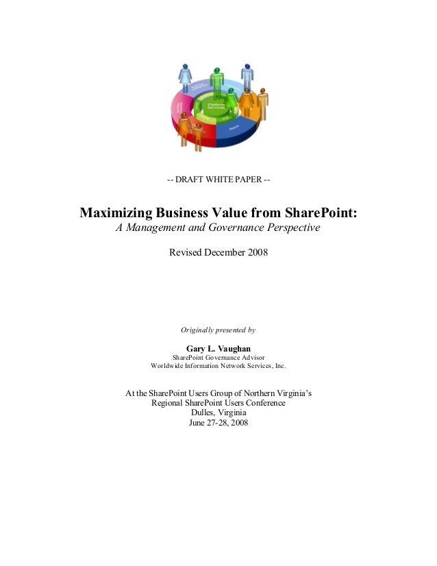 Maximizing the Value of SharePoint