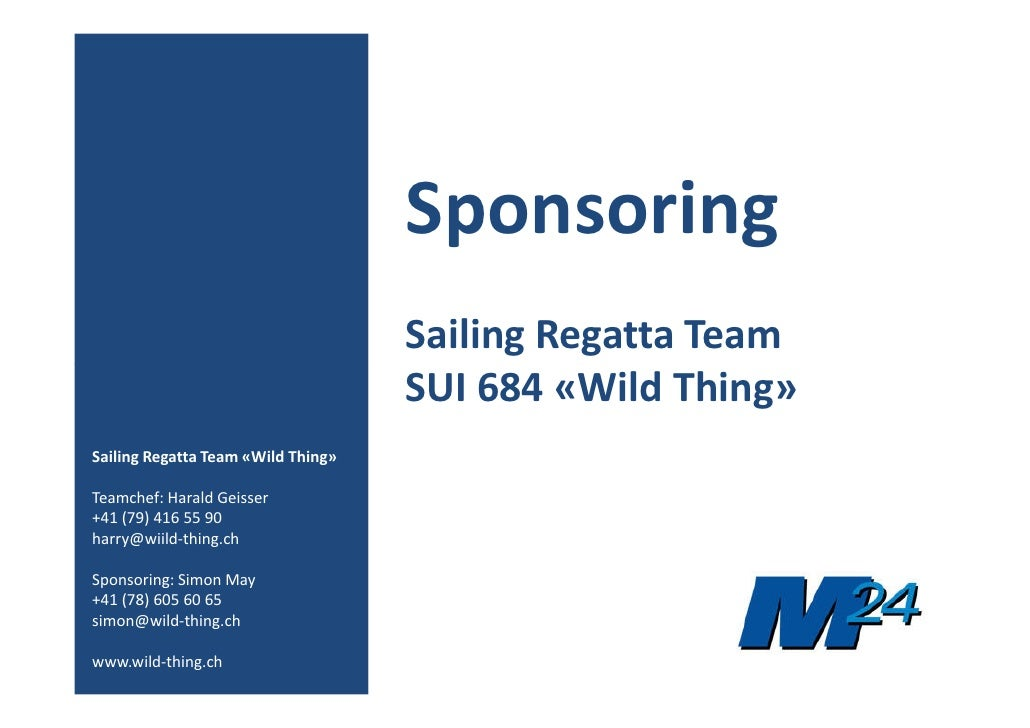 Sponsoring                                     Sailing Regatta Team                                     SUI 684 «Wild Thin...