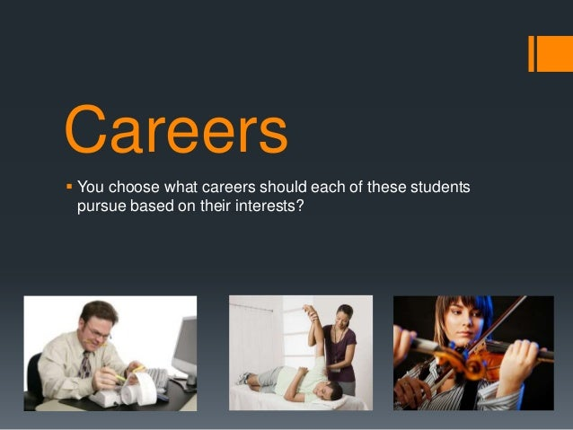 Careers You choose what careers should each of these studentspursue based on their interests?