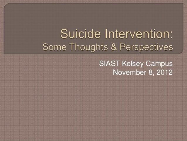 Suicide Intervention Presentation, Nov. 8, 2012