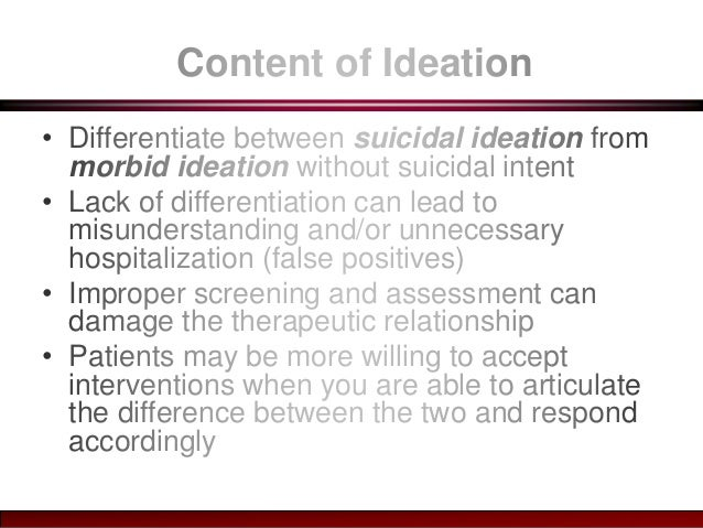 an overview of the suicidal thoughts Smoking and suicide: a brief overview john r hughes  the association was present whether suicidal thoughts, plans or completions were used as the dependent variable the odds ratios and relative risks typically were greater than 20 in several studies, the risk persisted even after major depression, alcohol/drug abuse, other.