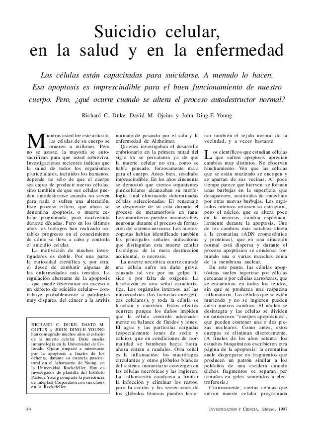 Suicidio celular, en la salud y en la enfermedad