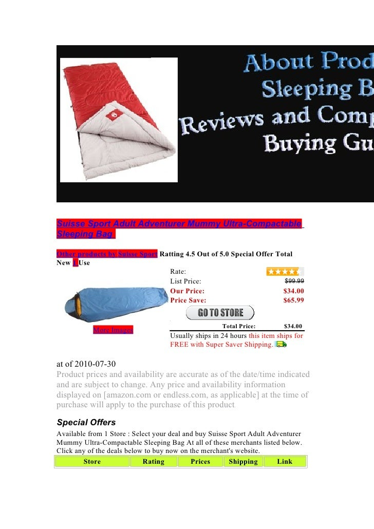 Suisse Sport Adult Adventurer Mummy Ultra-Compactable Sleeping Bag  Other products by Suisse Sport Ratting 4.5 Out of 5.0 ...