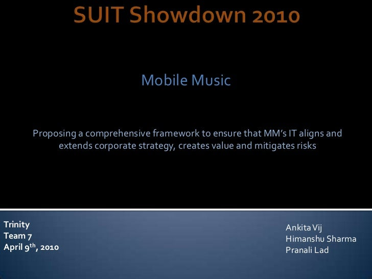 Mobile Music       Proposing a comprehensive framework to ensure that MM's IT aligns and            extends corporate stra...