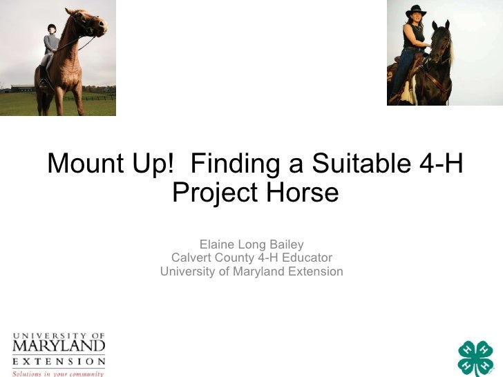 Mount Up!  Finding a Suitable 4-H Project Horse Elaine Long Bailey Calvert County 4-H Educator University of Maryland Exte...