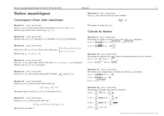 [http://mp.cpgedupuydelome.fr] édité le 28 février 2013 Enoncés 1Suites numériquesConvergence d'une suite numériqueExercic...
